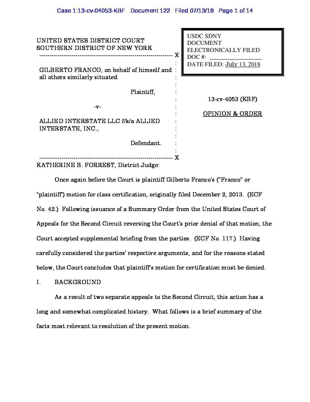 Franco V Allied Interstate Class Denial Accountsrecovery